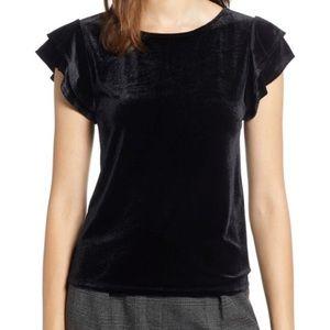 Halogen Black Velvet Velour Flutter Sleeve Top